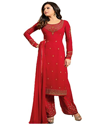 Jesti Designer Women's Faux Georgette Red Embroidery Gown Latest Party Wear Designe...