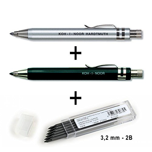 Koh-I-Noor 5358 - Metalldruckbleistifte mit Minenspitzer und Clip - 3er SET - Minenstärke 3.2 mm - SCHWARZ und SILBER und 12er Pack GRAPHITMINEN 2B 3,2