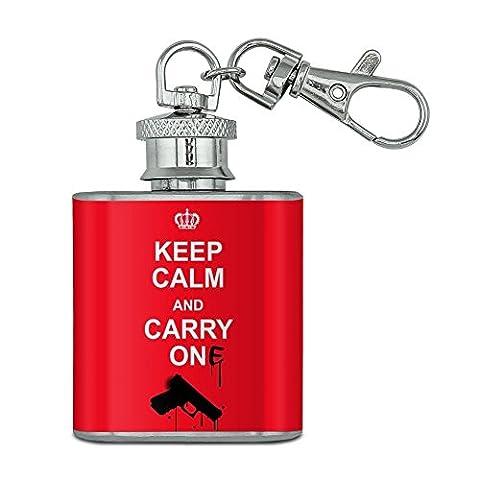 Pistolet Keep Calm and Carry One en acier inoxydable 28,3gram Mini Bouteille Porte-clés
