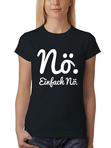 clothinx Damen T-Shirt Fit Nö Einfach Nö Schwarz/Weißer Druck Gr. L