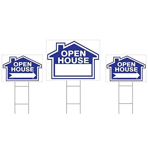 Open House-einsätze (Open House Sign Kit (Blau), (1) 45,7x 61cm Yard Zeichen, (2) 30,5x 45,7cm gerichtete Schilder, (3) Draht Einsatz-Parent Standard Kit - Blue)