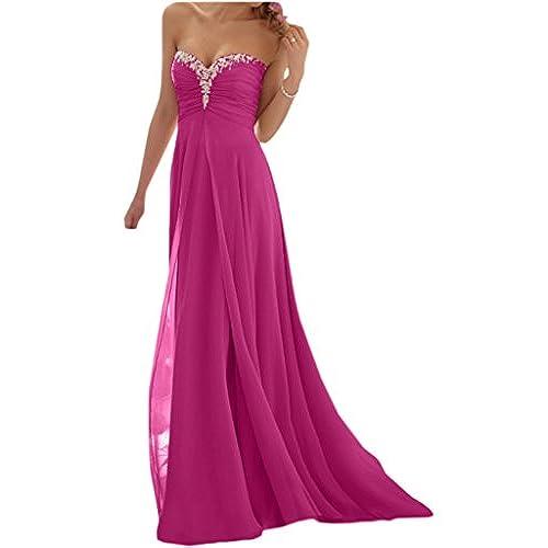 Promgirl House Damen Glamour Traegerlos A-Linie Chiffon Abendkleider  Cocktail Ballkleider Lang-36 Fuchsie