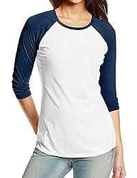 Kinlene Camiseta Personalizada Mujer,2018 Nuevo Blusas para Mujer,Tops Largas de Béisbol de Moda,…