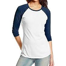 Kinlene Camiseta Personalizada Mujer,2018 Nuevo Blusas para Mujer,Tops Largas de Béisbol de