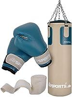 ScSPORTS bokszakset met bokszak 25 kg, inclusief bokshandschoenen, boksbandages en 5-punts stalen ketting, beige/petrol