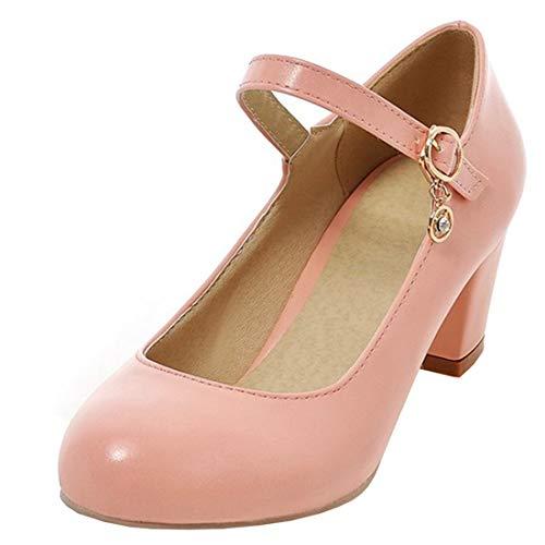 UH Damen High Heels Mary Jane Pumps mit Blockabsatz und Riemchen 6cm Absatz Kleid Schuhe Heel Mary Jane