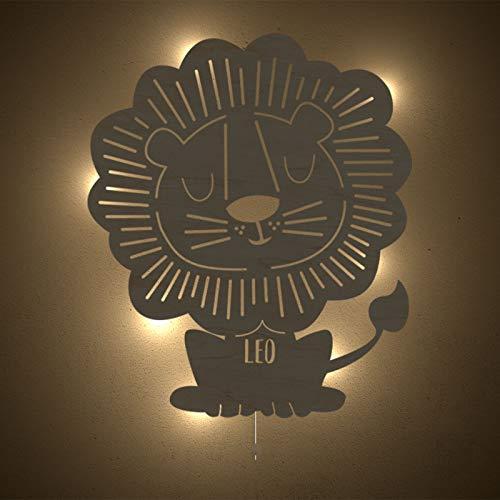Nachtlicht Leo der Löwe Kinderzimmer-Lampe/Tauf-Geschenk oder zur Geburt/Personalisiert mit Wunsch-Name für Mädchen oder Jungen Schlummerleuchte Babyzimmer Stilleuchte [Energieklasse A++] -