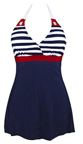 AMOMA-Ladies-Shape-Body-Swimwear-One-Piece-Swimsuit-Navy-Stripe-Sailor-Bikini-Swimwear-Dress-M-4XL