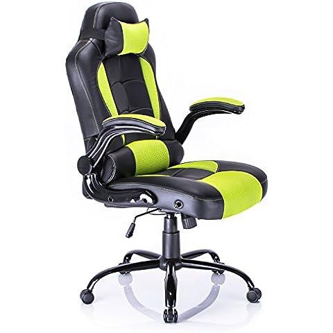 Aminiture Poltrona Sedia direzionale da ufficio Racer classe di lusso, disponibile in diversi colori (verde)