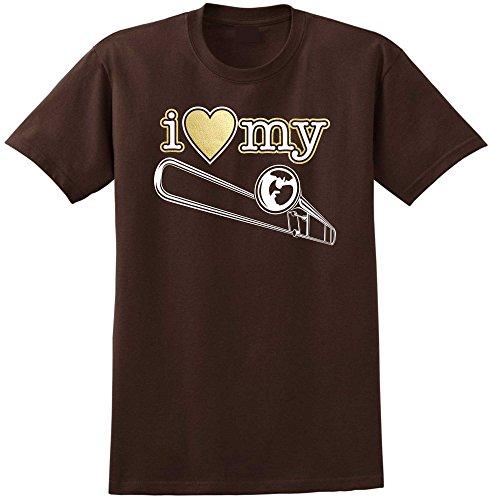 MusicaliTee Trombone I Love My - Chocolate Braun T Shirt Größe 104cm 42in Large