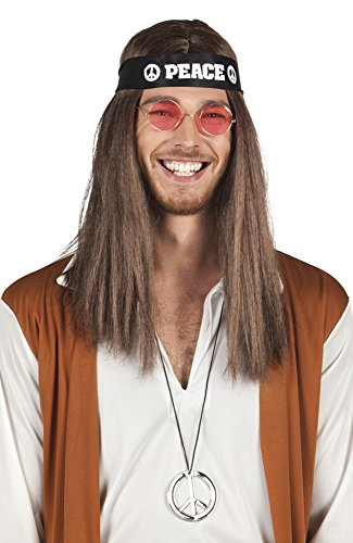 Hippy Set, Headband, Glasses, Peace Sign and Wig