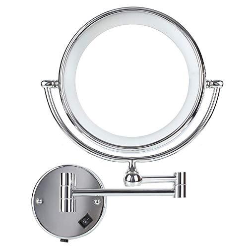 DECKEY Kosmetikspiegel mit LED Beleuchtung und 1-/ 5-facher Vergrößerung aus Kristallglas, Edelstahl und Messing, Doppelseitig, Rostfrei, Schminkspiegel