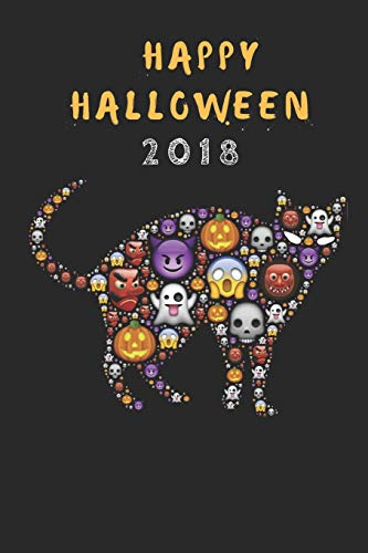Happy Halloween 2018: A Funny Halloween Ghost Cat Journal, Customised Note Book For Kids And Adults