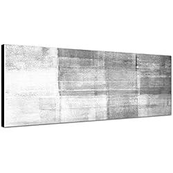 Keilrahmenbild Panoramabild SCHWARZ / WEISS 150x50cm Malerei Kunst abstrakt grau