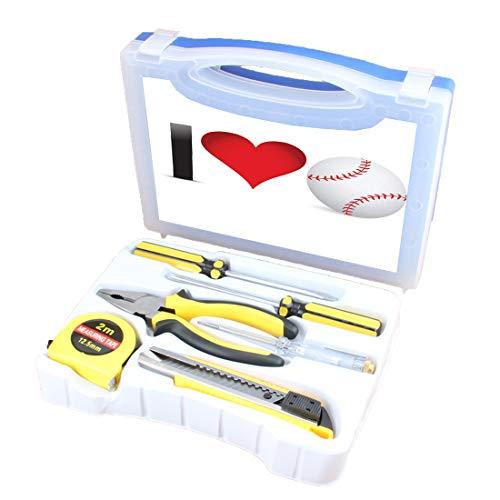 Handliches Werkzeugset Kombination Haushalt Sportliebhaber Sammlung Ich liebe Baseball Grundlegende DIY Handwerkzeug-Set-Box Enthält Schraubendreher, Zange, Maßband, Teststift, Schneidewerkzeug, Herz (Baseball-maßband)