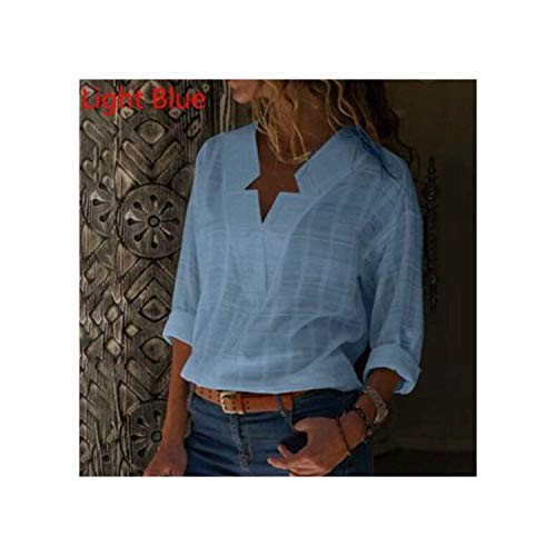 Fantasty-Ubiquity Damen Bluse mit Langen Ärmeln und Langen Ärmeln, Gr. 5XL Gr. X-Large, hellblau