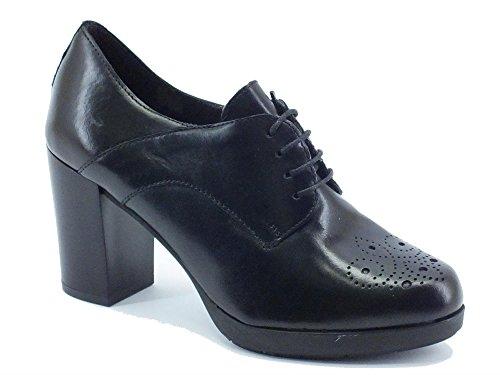 Scarpe Mercante di Fiori modello francesina in pelle nero tacco alto (Taglia 38)