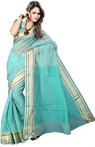 Asavari SeaGreen Pure Cotton Banarasi Saree  available at amazon for Rs.699