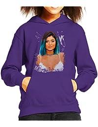 Sidney Maurer Original Portrait of Kylie Jenner Kids Hooded Sweatshirt
