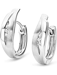 Miore Earrings Women Hoops    Brilliant Cut Zirconia   925 Sterling Silver