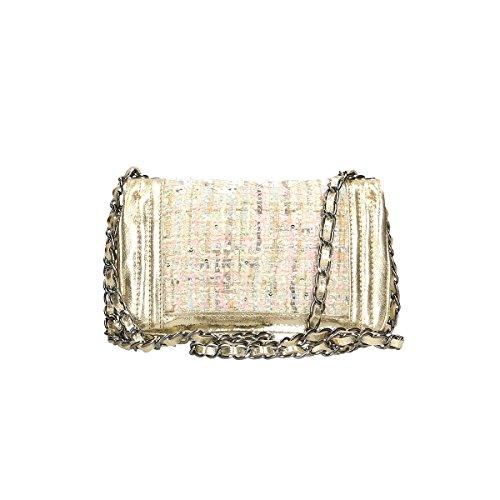 Chicca Borse echtes Leder Schultertasche 20x13x8 Cm Gold
