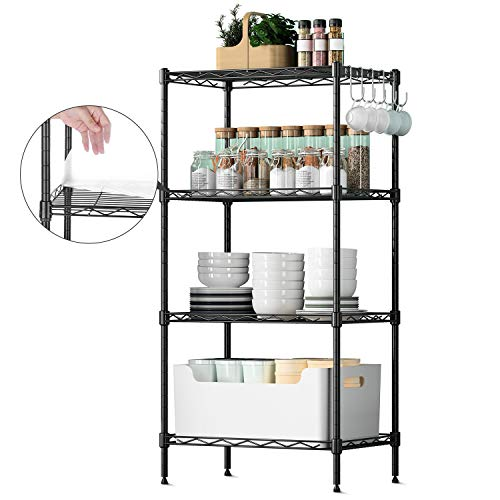 GBlife Vierfach-Multifunktions Standregal/Lagerregal, Küchenspeicherwagen   Badezimmerregale mit abnehmbaren Haken für Büro, Küche, Badezimmer, Schlafzimmer