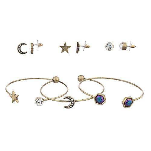 Lux accessori oro Celestial Luna e Stelle Orecchini Bracciale Set 6pc