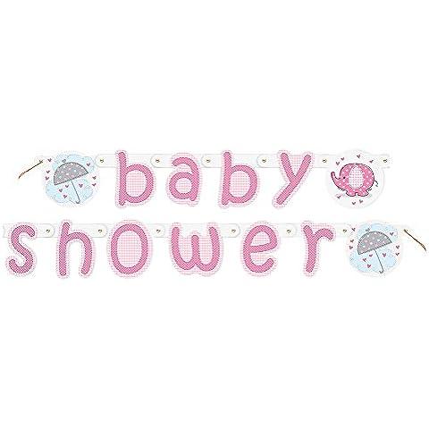 Ducha Partido Ênico 5 ft Umbrellaphants bebé Carta Banner (rosa)