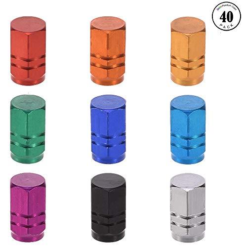 40 Stück Fahrrad-Reifenventilkappen aus Aluminiumlegierung, sechseckiges Design, eloxiert, gefräst, in 10 Farben erhältlich ()