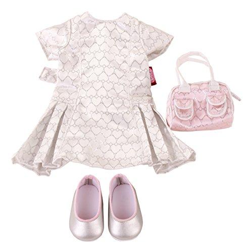Götz 3402299 Kombination Glitter Glamour - Amelie - Puppenbekleidung Gr. XL - 4-teiliges Bekleidungs- und Zubehörset für Stehpuppen von 45 - 50 cm - Herz Ballerina Kleid