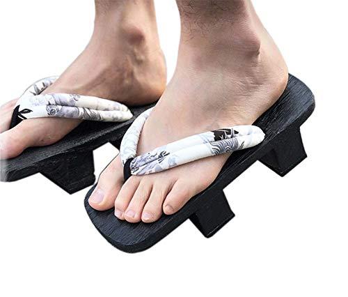 Herren Japanische Holzschuhe Sandalen Japan Traditionelle Schuhe Geta Wide Sole Flip Flops, NO.4