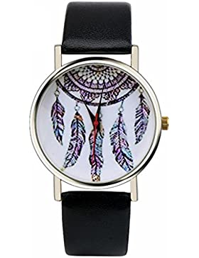 Ularma Damen Mädchen Armbanduhr Dream Catcher Quarzuhr 2cm Breit PU Leder Armband, schwarz