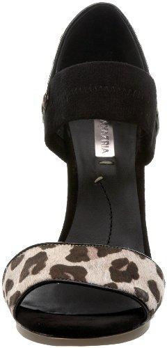BCBG Max Azria Nadalya Femmes Noir Cuir Sandales Cement-Black-Leoprd