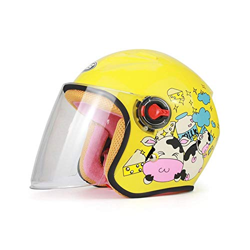 fancyU Warm Casco del Motociclo dei Bambini, del Casco del Fumetto Sveglio del Motociclo per Bambini per Quattro Stagio