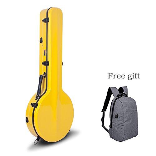 crossrock Fiberglas Hartschalen String Resonator Banjo Fall, gelb