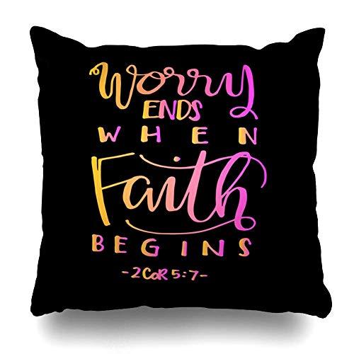 Kissenbezug Sorgen Schrift Endet, Wenn Der Glaube Beginnt Bibel Glauben Vers Christian Gospel Brush Christ Design 22×22 Zoll