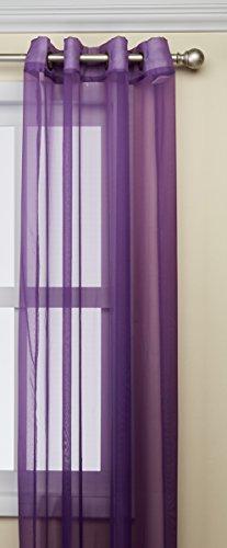 Kashi Home Leah Kollektion von Fenster blumengabeln/Behandlung/Panel/Vorhänge in mehreren Farben, Single Panel, Tülle Top zum Aufhängen, Polyester, violett, Einheitsgröße (Tülle-oberseite)