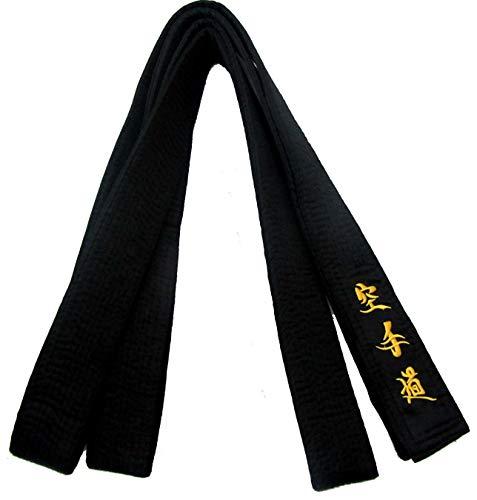 Cintura nera di raso matsumoto con ricami in giapponese 300x1.75cm per uomo donna karate kickboxing shotokan shito-ryu goju ryu arti marziali