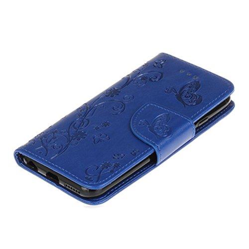 Custodia iPhone 6 Plus, ISAKEN Custodia iPhone 6S Plus, iPhone 6 Plus Flip Cover con Strap, Elegante borsa Tinta Unita Piuma Design in Sintetica Ecopelle PU Pelle Protettiva Portafoglio Case Cover per Fiore: blu