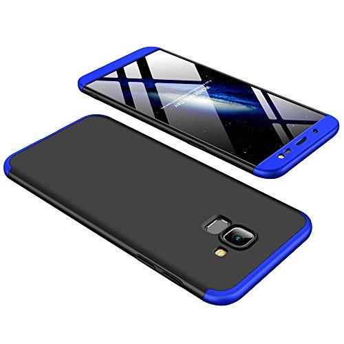 Shinyzone 3 in 1 Stoßfest Hülle für Samsung Galaxy J6 2018,360 Grad Ganzkörper Schutzhülle,Ultra Dünn Leicht Hybrid Hart PC Schale Kratzfest Handyhülle für Samsung Galaxy J6 2018,Blau & Schwarz -