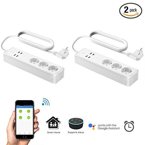 Preisvergleich Produktbild Smart intelligente Wlan Steckdosenleiste kompatibel mit Alexa und Google Home,  3 Steckdosen und 4 USB Ladeausgänge,  Timer Funktion Fernbedienung separat für Andriod und Ios(1.6M,  Weiß, 2 Stück) (2)