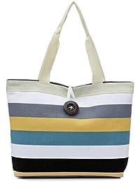 Internet Lady Colored stripes Shopping Handbag Shoulder Canvas Shopping Bag Tote Purse