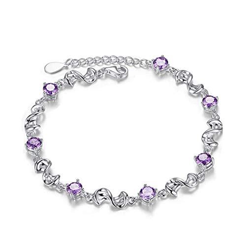 gyx Damen Armband, 925 Sterling Silber Armband, Romantische Liebe Lila Zirkonia Armband, Kettenlänge 20 cm Justierbare, Hochwertige Geschenkverpackung (Halskette Verbindung Chemische)