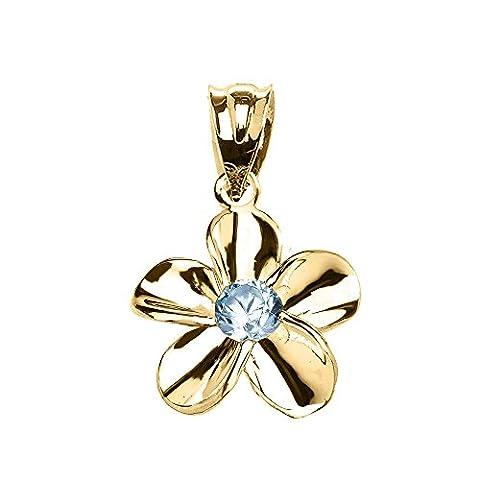10 ct Yellow Gold Hawaiian Plumeria Blue Zircon Elegant Pendant Necklace (Comes With an 18
