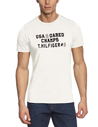 Tommy Hilfiger Men's Crew Neck 1/2 Sleeve T-Shirt - White - Weiß (118 SNOW WHITE-PT) - 48 (Brand size: S)