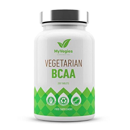 MyVegies BCAA - Integratore vegano 100% puro 200 compresse - Integratore a base vegetale di aminoacidi a catena ramificata per crescita muscolare, potenziamento dell'energia e perdita di peso-33 dosi!