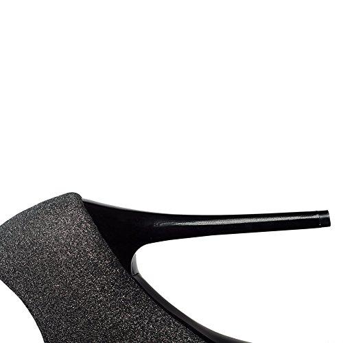 VogueZone009 Donna Punta Tonda Alla Caviglia Tacco A Spillo Puro Stivali con Seta Nero