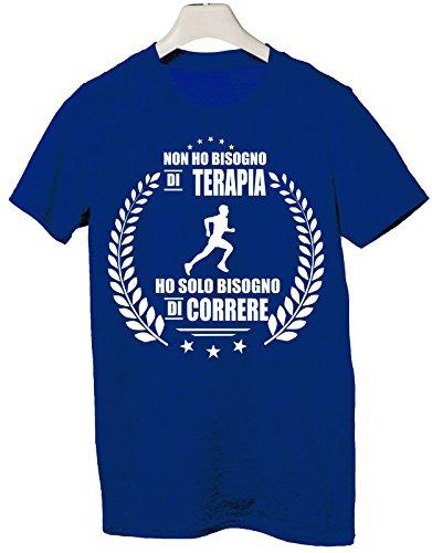 Tshirt non ho bisogno di terapia ho solo bisogno di correre - Tutte le taglie by tshirteria Blu