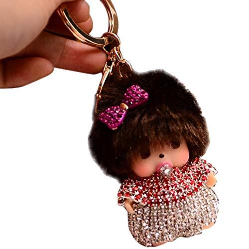 BZLine® Strass Monchhichi Tasche Keyfob Plüsch Spielzeug Schlüsselanhänger (Rot)