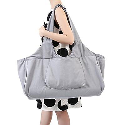 Slimerence Yogatasche, Oversize Yoga Kit Tasche aus 100% Feine Leinwand - Multifunktionale Aufbewahrung Wie Yoga-Matte, Yoga Roller, Handtuch, Handy Pilates Tasche, Sport Ausrüstung Tasche